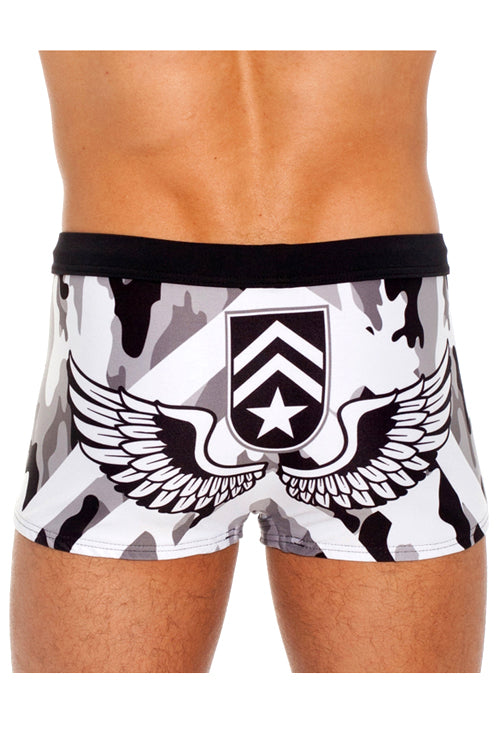 Solstice Gray Camo Swim Trunk by Gregg Homme