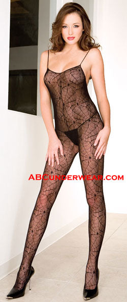 Spider Web Spaghetti Straps Crotchless Bodystocking