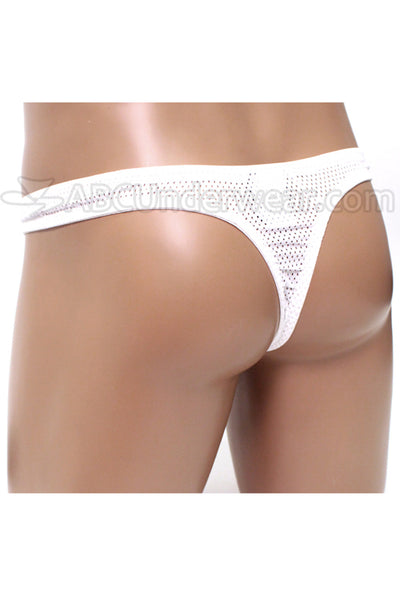Mens Sporty Mesh Pouch Thong Underwear - White
