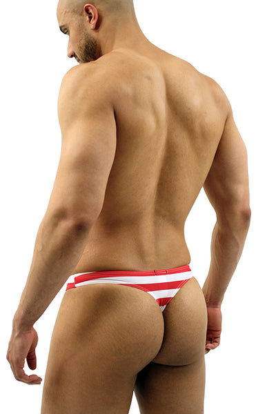 American Flag Stars and Stripes Thong Swimsuit for Men