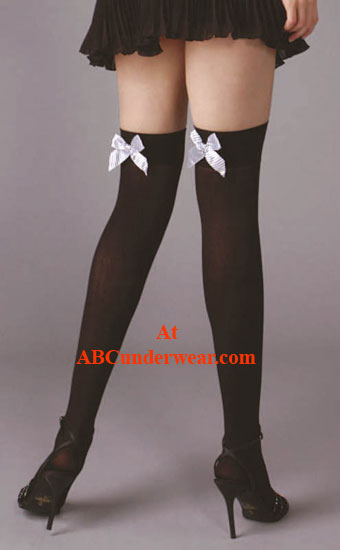 Women's Opaque Stocking W/ Bow