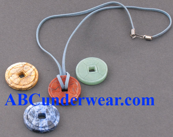 Chinese Stone Coin Necklace