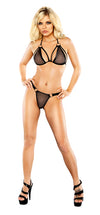 Vixen Mesh Strappy Bra & Thong Set with Rings