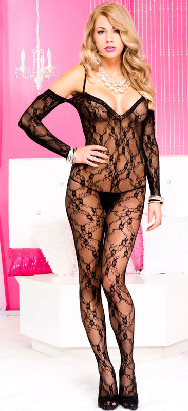 Sexy Stretch Lace Spaghetti Straps Crotchless Bodystocking with Attached Sleeves