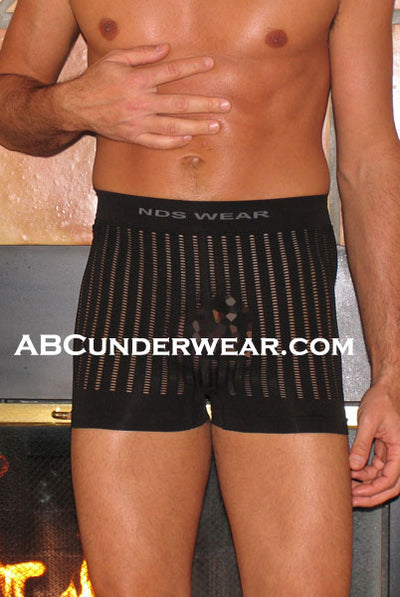 Seamless Microfiber Striped Mesh Boxer