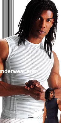 Striped Lycra Muscle Shirt - Clearance