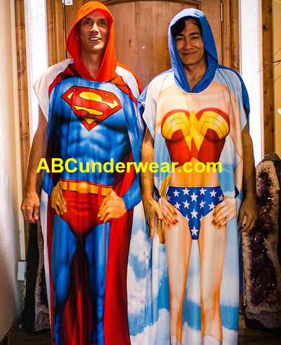 Superman & Wonder Woman Poncho Costume/Lounge wear -Clearance