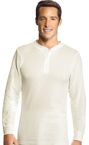 Hanes Mens Thermal Henley Top