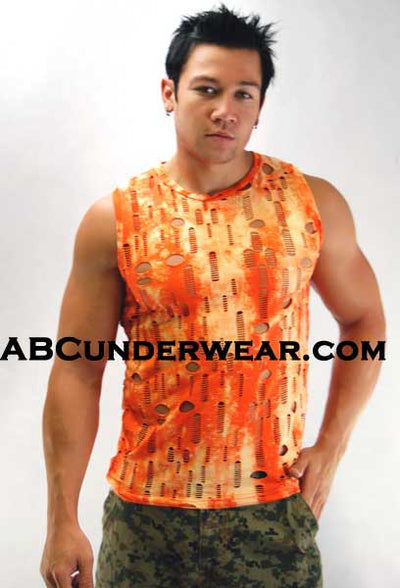 Tie Dye Muscle Shirt with holes