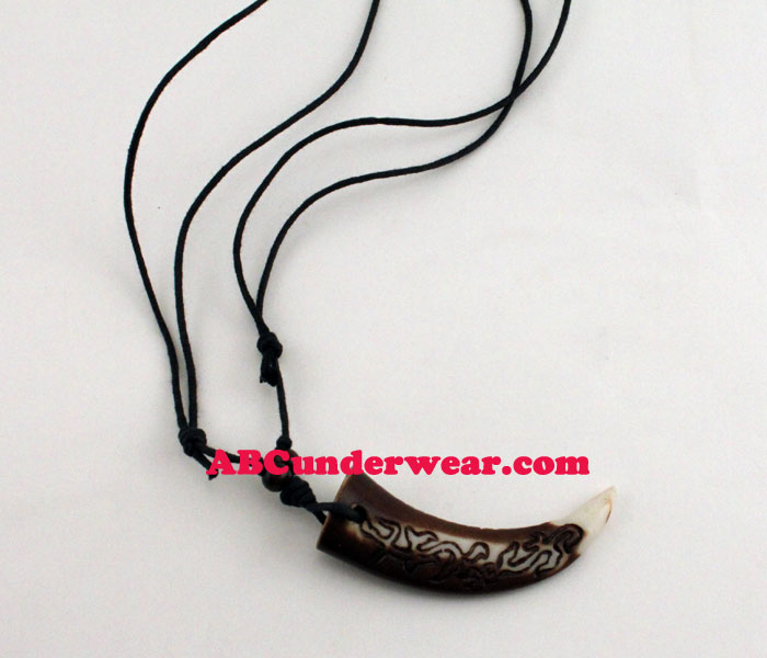 Tribal Tooth With Carving Necklace