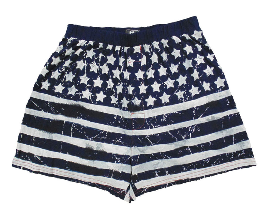 American Flag Distressed Navy Boxer