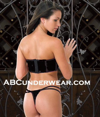 Stretch Velvet Bustier & Thong