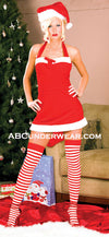 Halter Velvet Miss Santa Neck Dress-Clearance