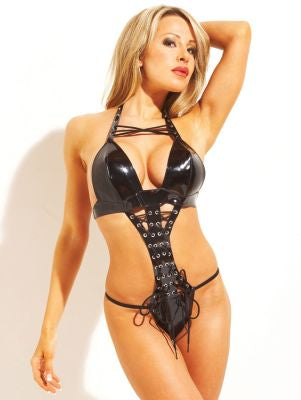Vinyl Lace-Up Halter Teddy