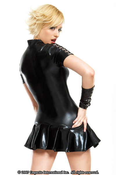 Wetlook Pleated Mini Dress