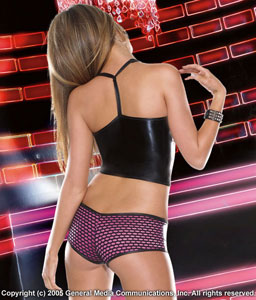 Lingerie Wetlook and fishnet Halter Top and Short