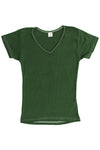 Womens Cotton V-Neck T-Shirt - Forest Green