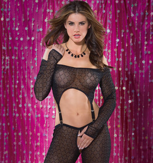 Sheer Diamond Mesh Suspender Top