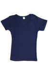 Womens Cotton V-Neck T-Shirt - Navy Blue