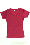 Womens Cotton V-Neck T-Shirt - Sangria Pink