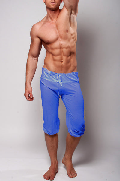 YMLA Mens Pilates Shorts - Heather Blue