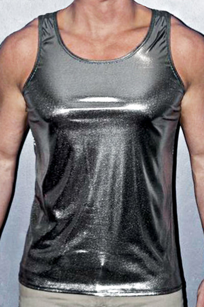 YMLA  Metallic Silver Tank Top