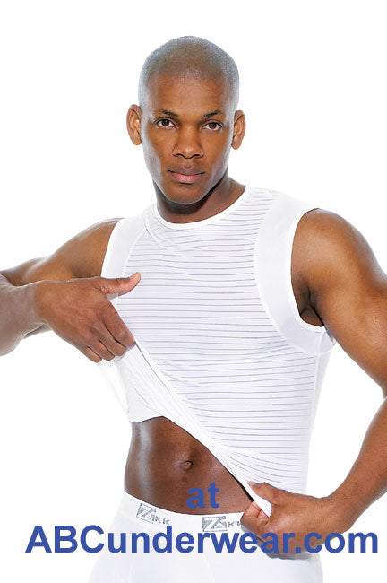 Zakk Striped Lycra Microfibre Muscle Shirt - Clearance