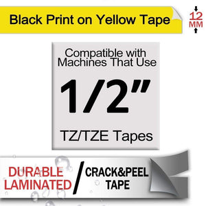 Aze-631 Strong Adhesive Laminated Label Tape - Black on Yellow 12mm