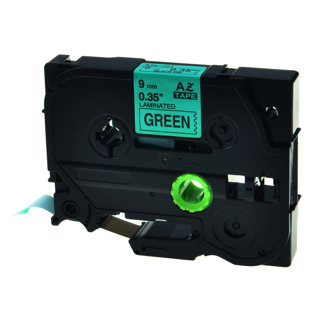 Aze-721 Strong Adhesive Laminated Label Tape - Black on Green 9mm