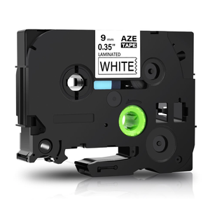 Aze-221 Strong Adhesive Laminated Label Tape - Black on White 9mm