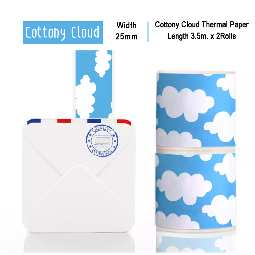 Cotton Cloud Sticker Thermal Paper | 25mm.