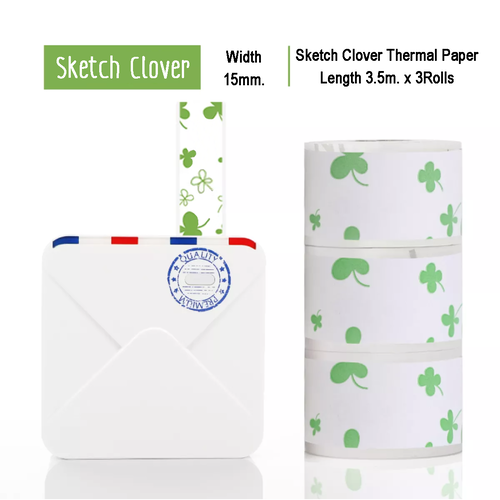 Sketch Clover Sticker Thermal Paper | 15mm.