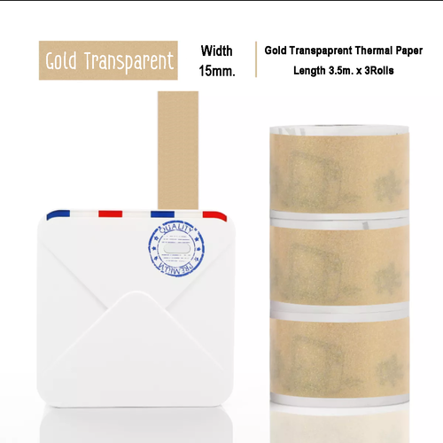 Gold Sparkle Sticker Thermal Paper | 15mm.