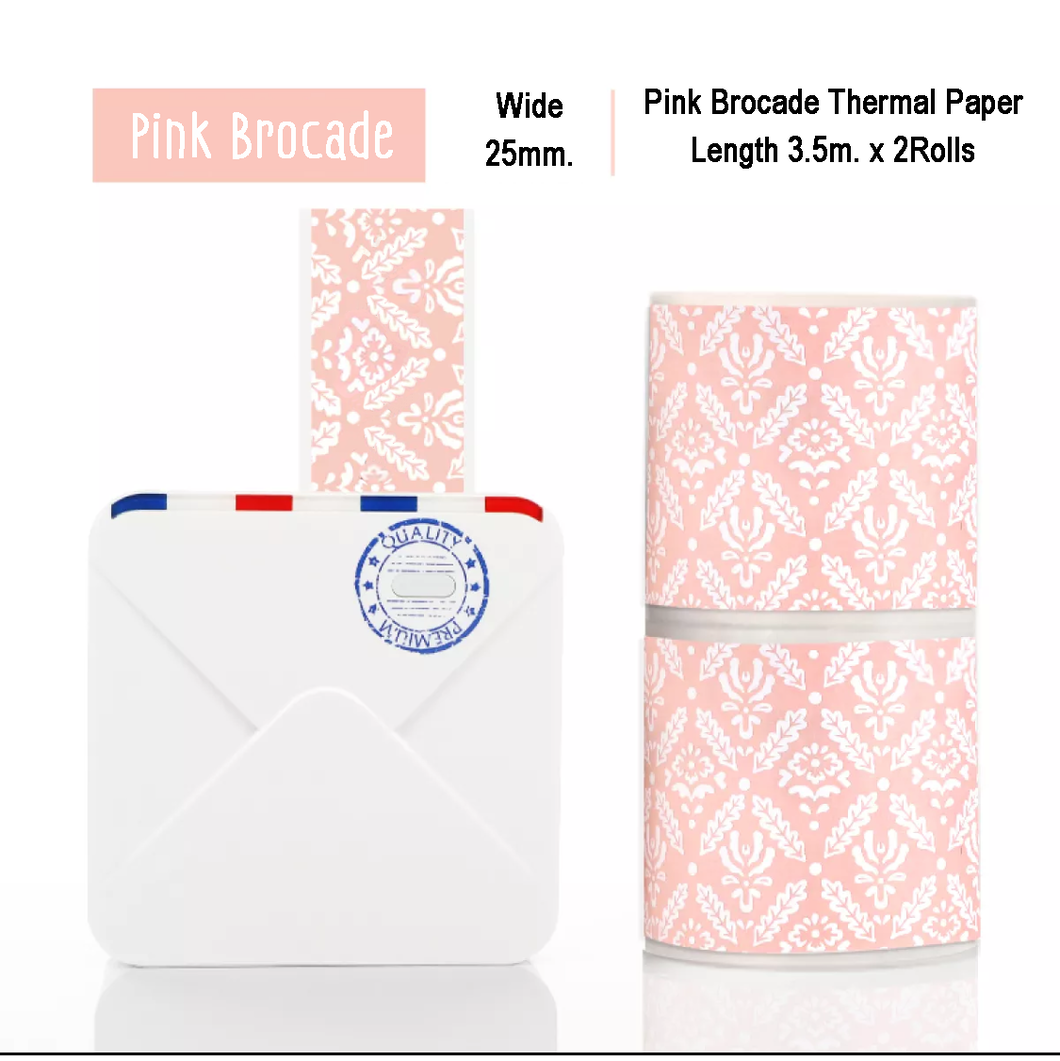 Pink Brocade Sticker Thermal Paper | 25mm.