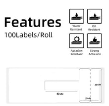 Load image into Gallery viewer, Cable Label Self-Adhesive 25x38mm (T Type) for Printeet M110