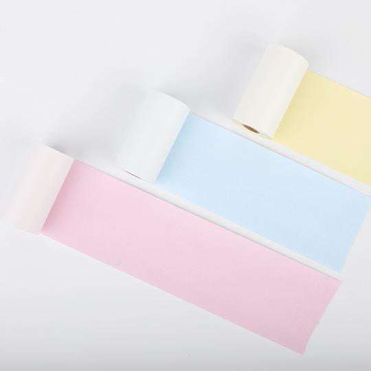 Colorful Non-Adhesive Thermal Paper Black Character on Yellow/ Blue/ Pink