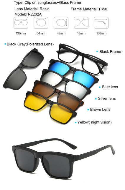 762be048d17 5 in 1 Multi-Purpose Magnetic Clip On Sunglasses From 😎Clear 😎UV ...