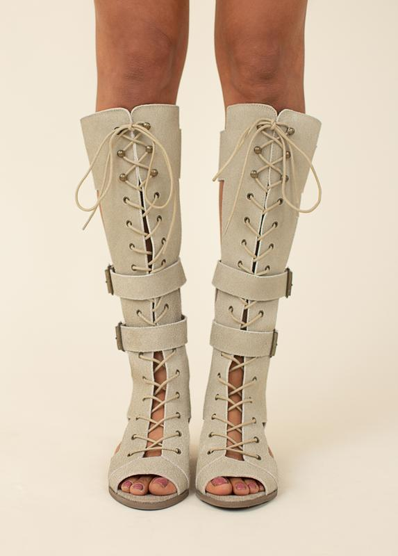 KEILANI GLADIATOR BOOT IN TAUPE