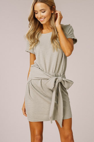 Olive Knit Tie Waist Dress
