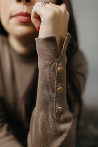 Mocha Mock Neck Sweater