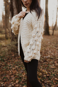 Snowcream Pom Sleeve Cardigan