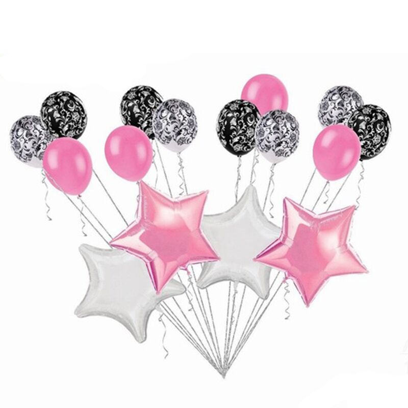 Pink Balloons Set For Baby Boy Birthday Party Decoration 16pcs