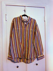 Striped Linen Button Up - L