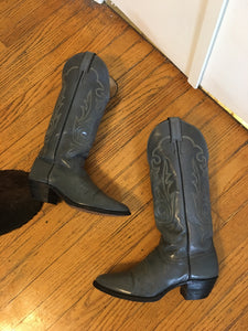 Blue Grey Leather Cowboy Boots - 7