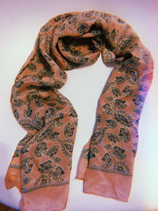 Light Pink Paisley Silk Scarf