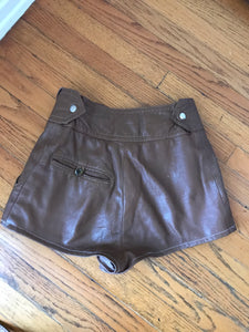 Brown Leather Shorts - 25