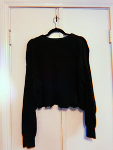 Distressed Black Sweater