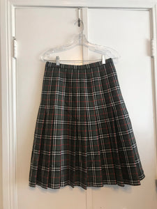 Green Plaid Midi Skirt