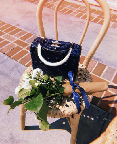 Blue Wicker Bag