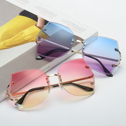 Women Rimless multi color fashion sunglasses